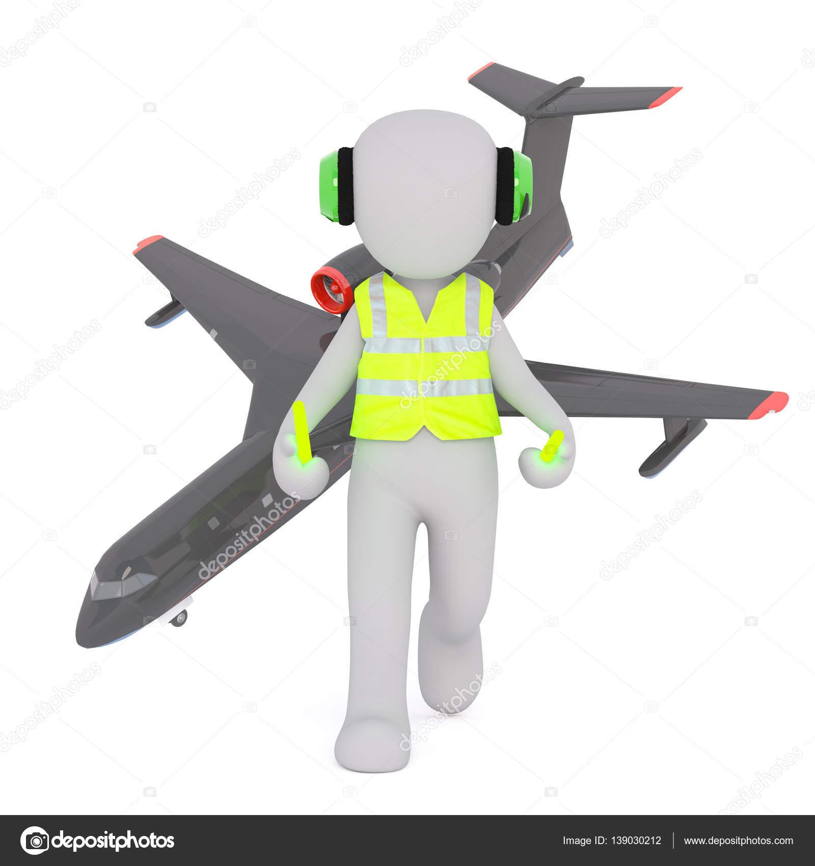 cartoon air traffic controller with airplane u2014 stock photo 3d