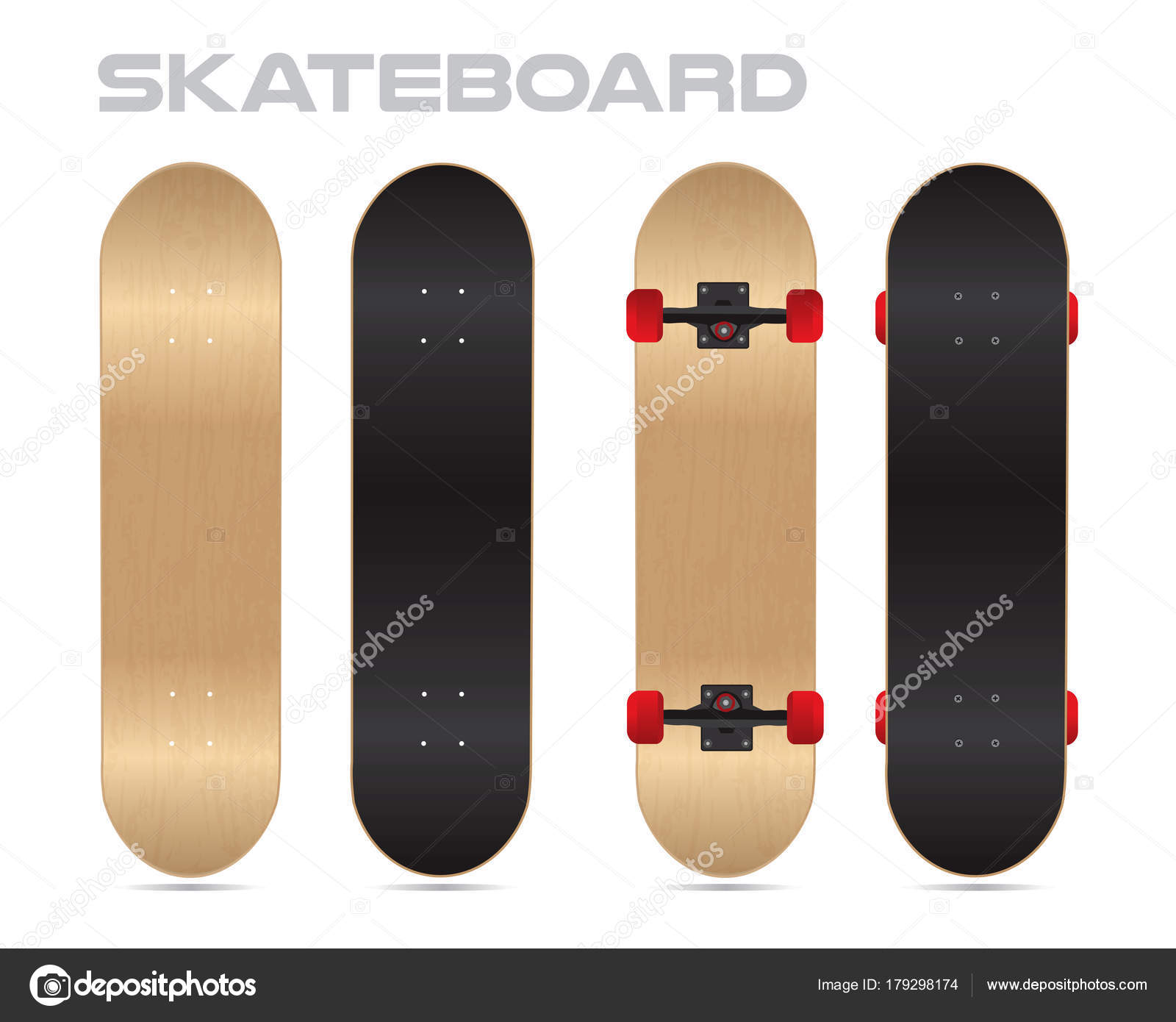 wood skateboard template vector two sides stock vector