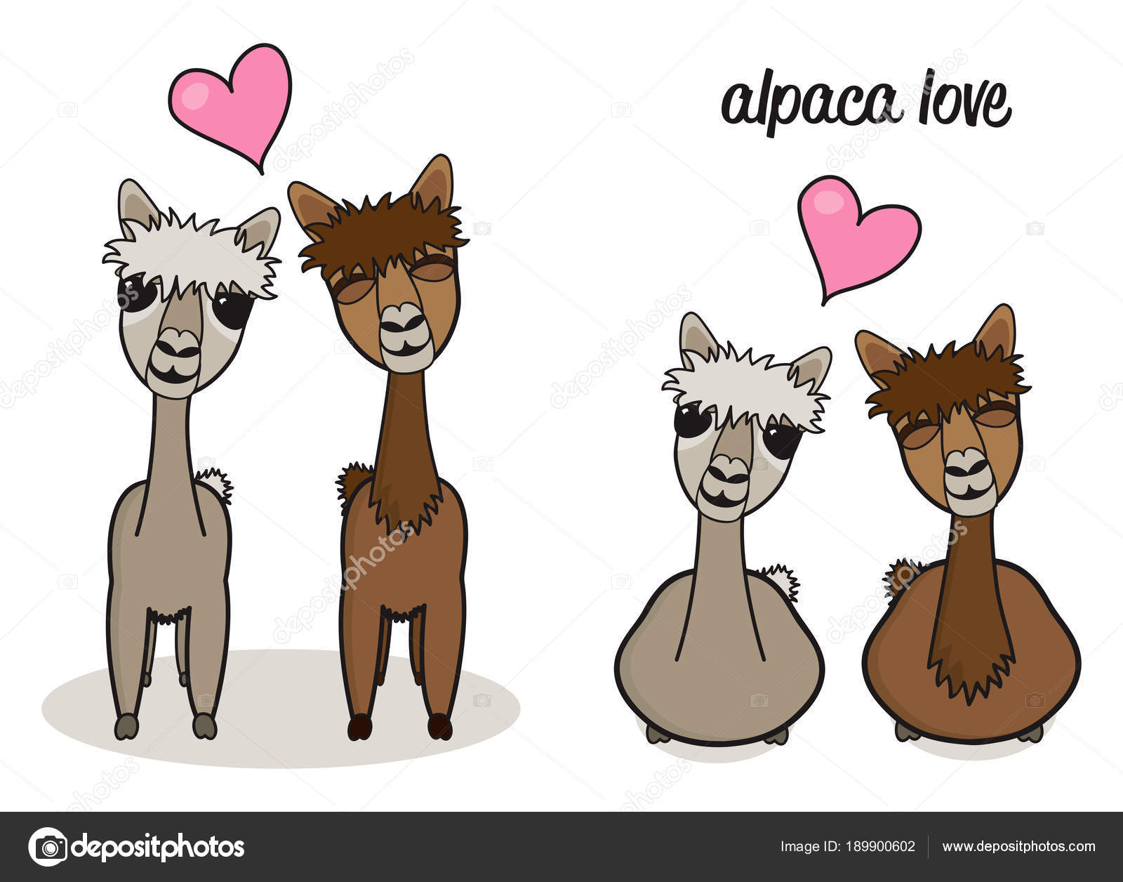 かわいい漫画アルパカ夫婦愛の図 ストックベクター Juliedeshaies