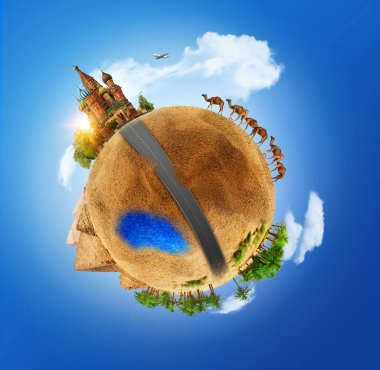 Small planet in a 360-degree panorama. Bird's-eye. Travel Moscow-Cairo.