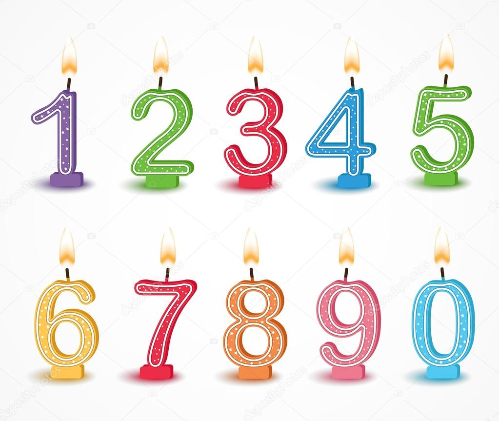 Colorful Birthday Candle Numbers Set Stock Vector