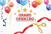 Grand opening card with ribbon and scissors
