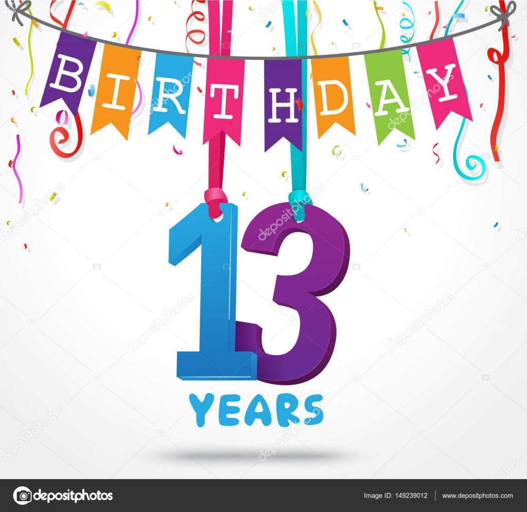 Happy 13 birthday card Vector bejotrus 149239012 – Birthday Cards Images and Graphics
