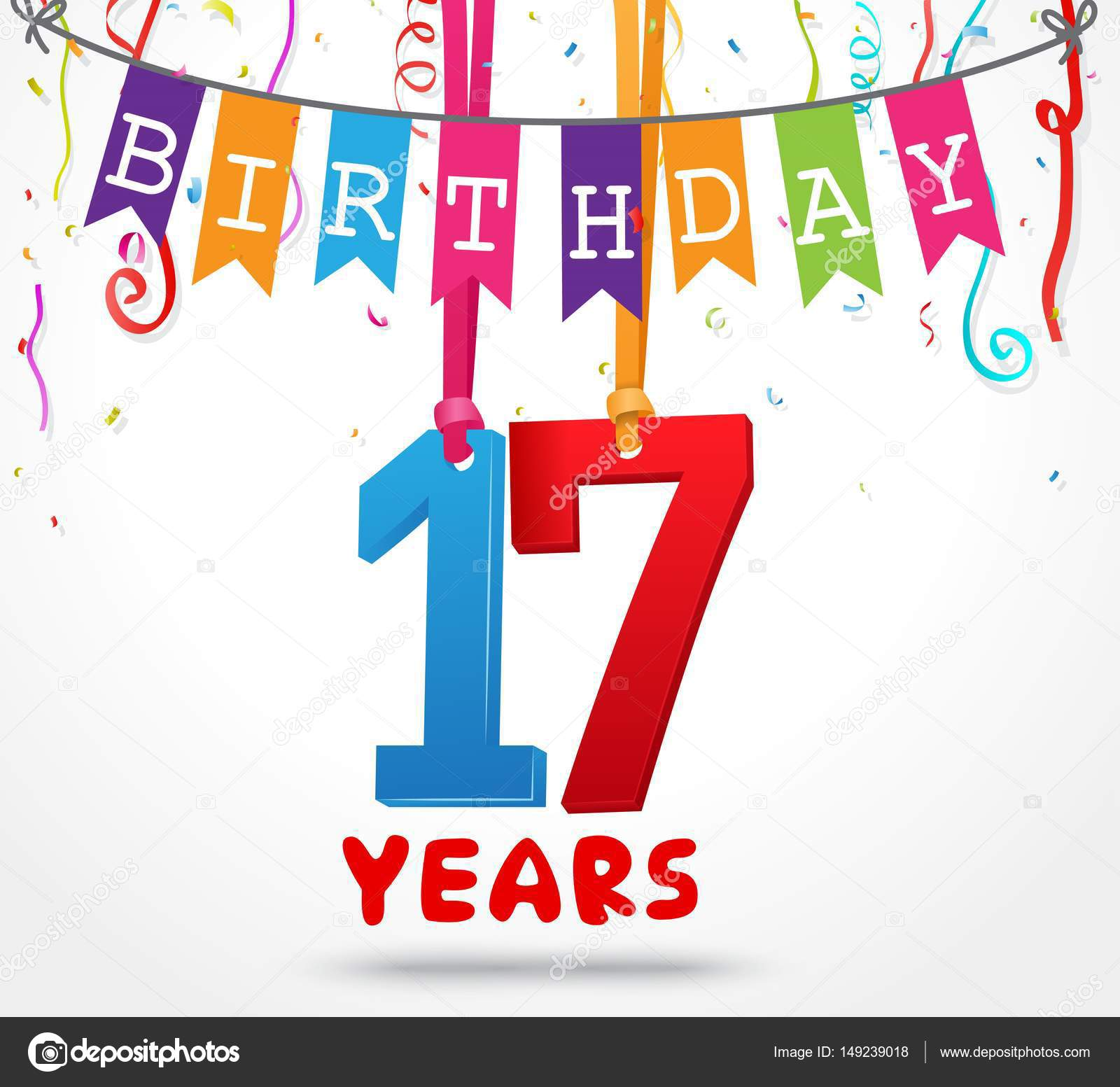 Happy 17 Birthday Card Stock Vector
