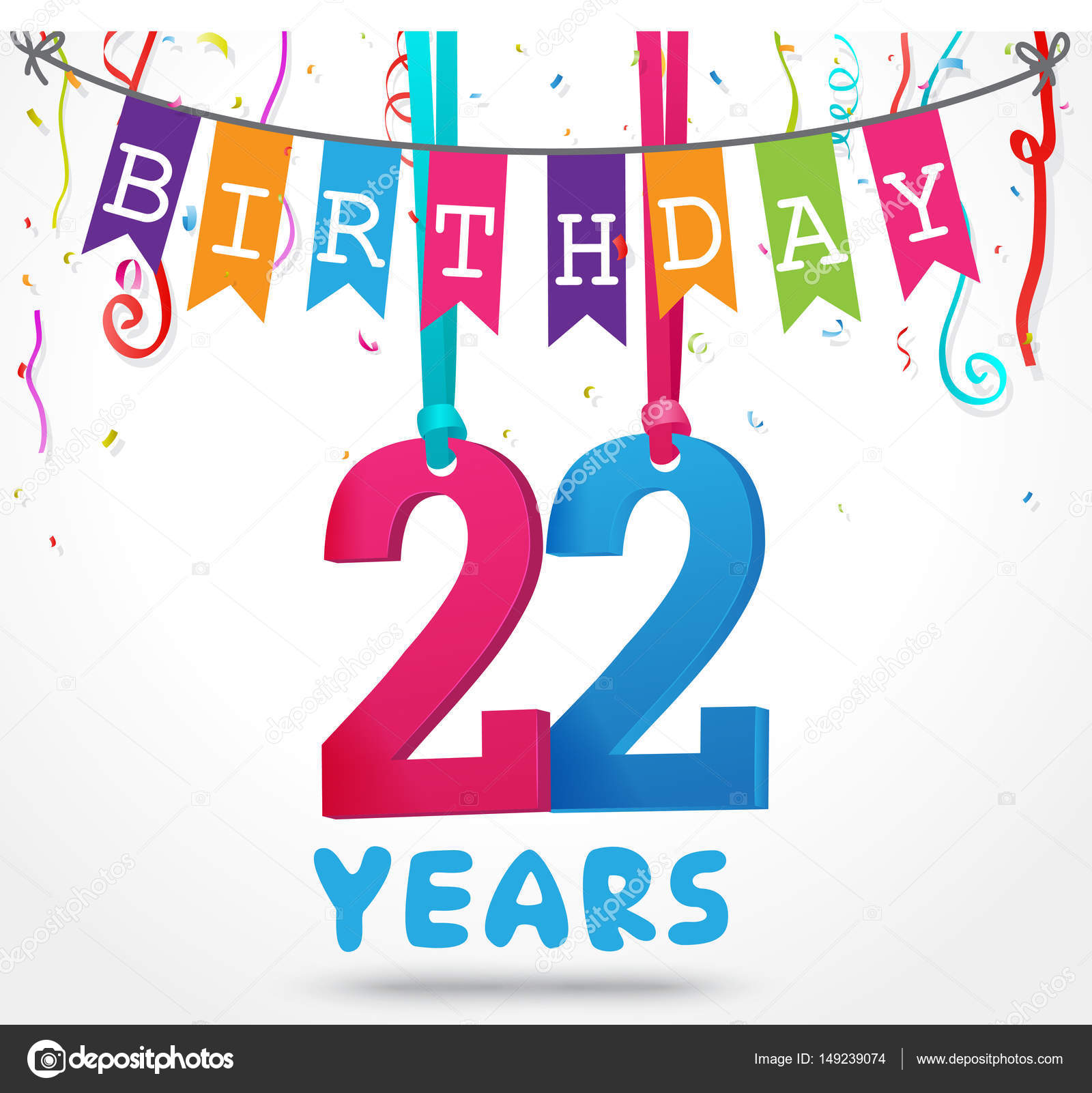 happy 22 birthday card stock vector bejotrus 149239074