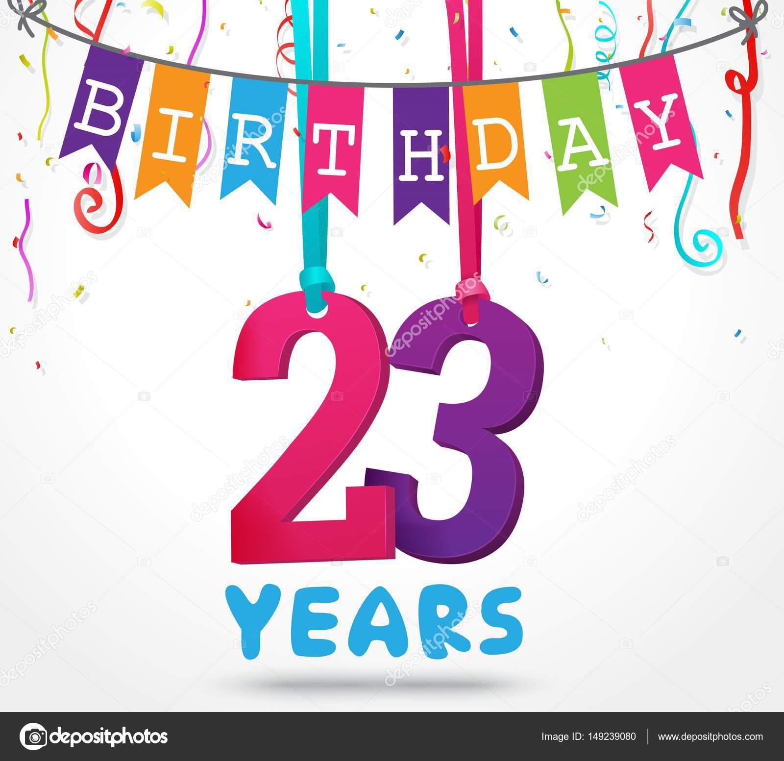 glücklich 23 Geburtstagskarte — Stockvektor © bejotrus #149239080