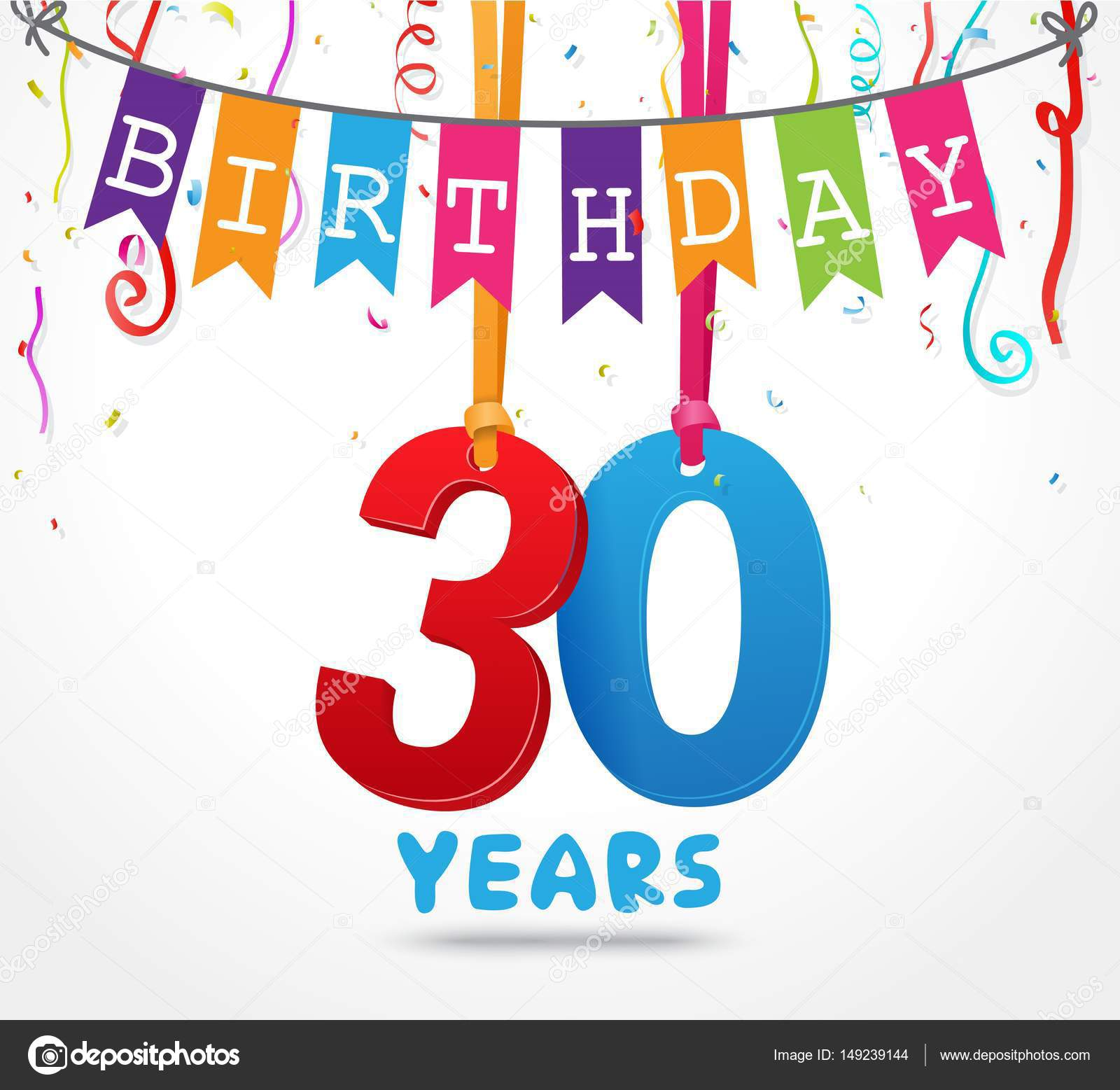 Happy 30 Birthday Card Stock Vector