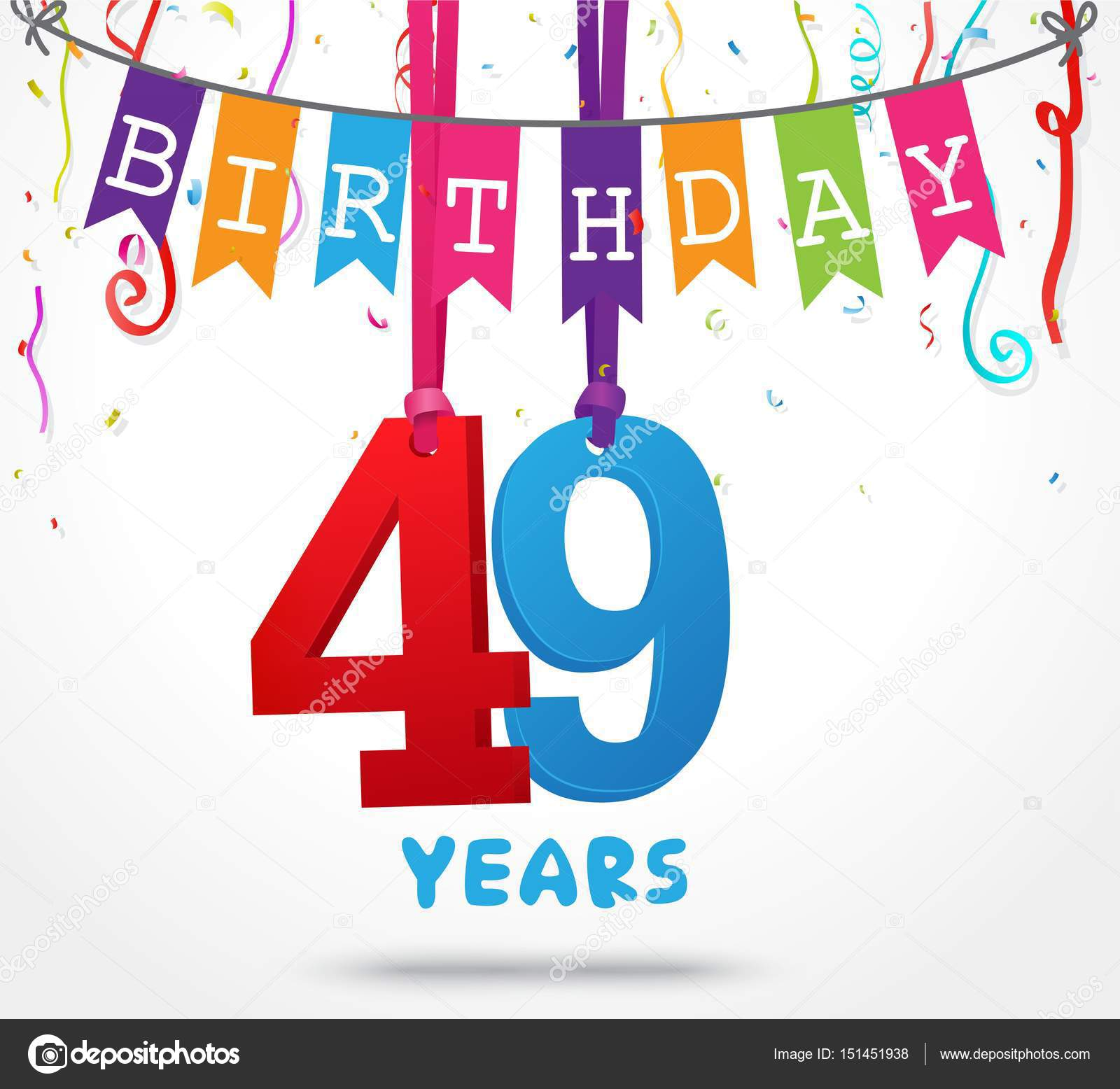 Auguri Buon Compleanno 49 Anni.Happy Birthday Greeting Card Stock Vector C Bejotrus