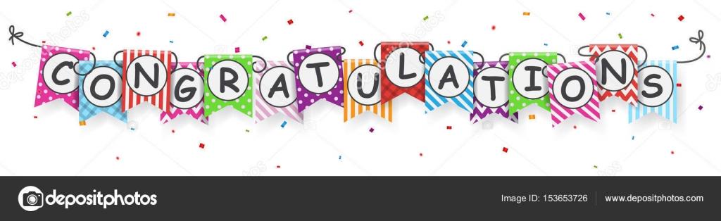 gefeliciteerd banner Gefeliciteerd banner met kleurrijke bunting vlaggen — Stockvector  gefeliciteerd banner