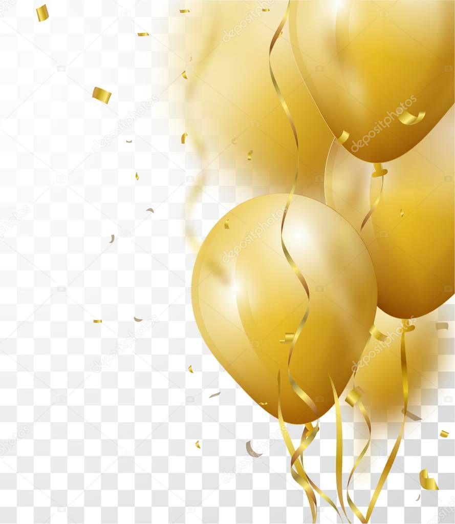 celebration background gold confetti balloons � stock