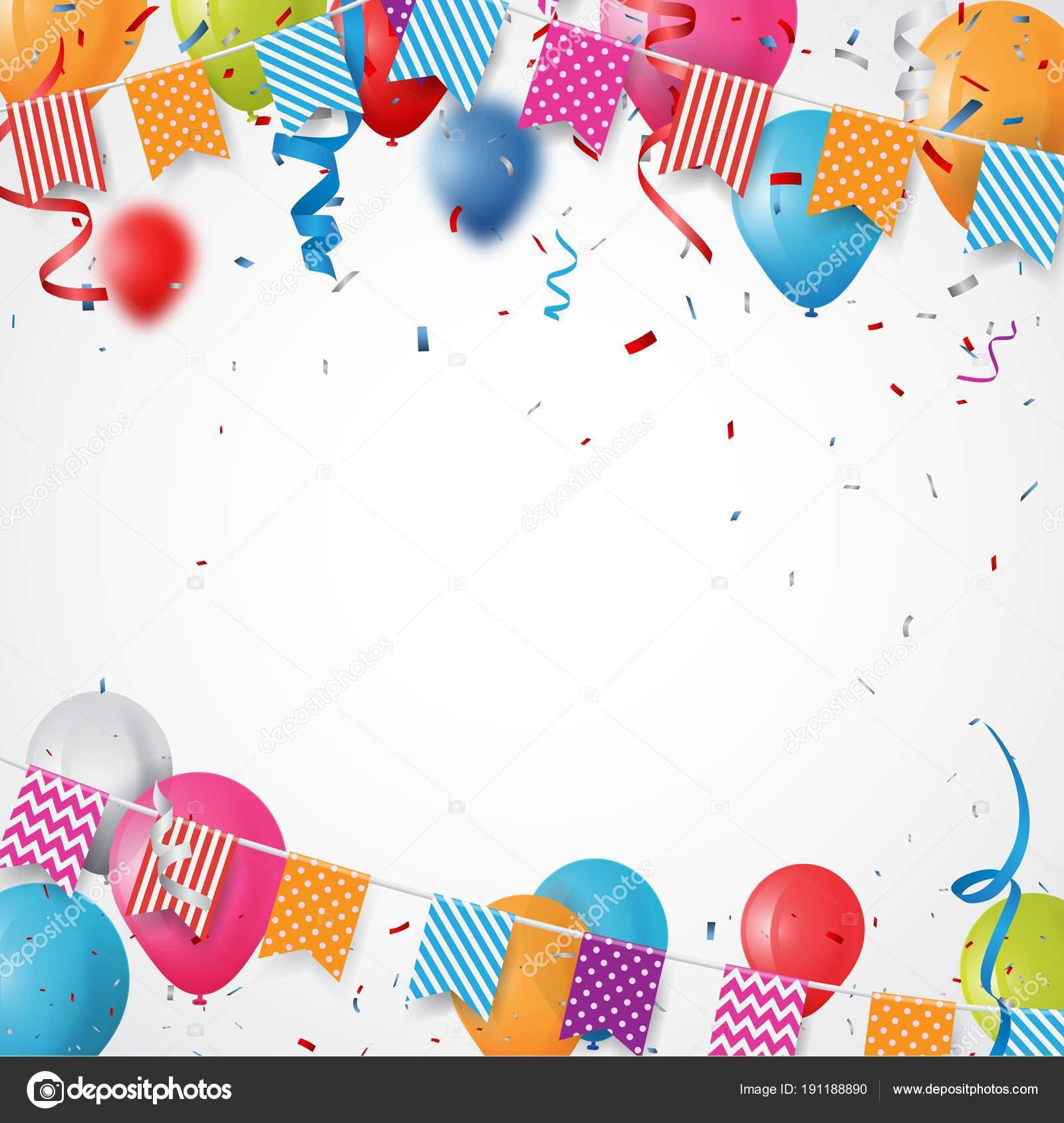 ilustracin vector colorido fondo tarjeta cumpleaos marco hecho coloridas banderas vector de stock