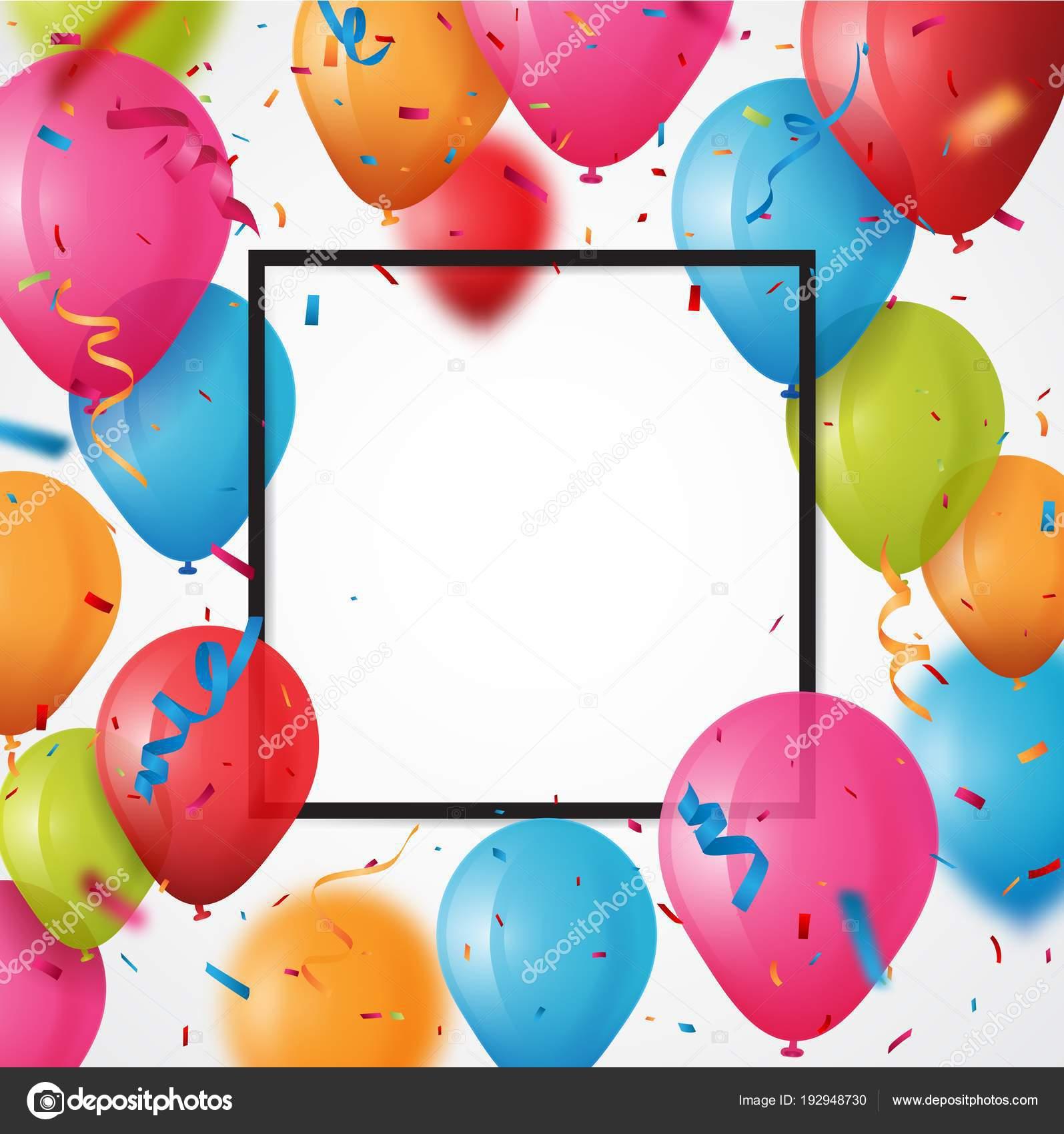ilustracin vector colorido fondo tarjeta cumpleaos marco hecho coloridos globos vector de stock