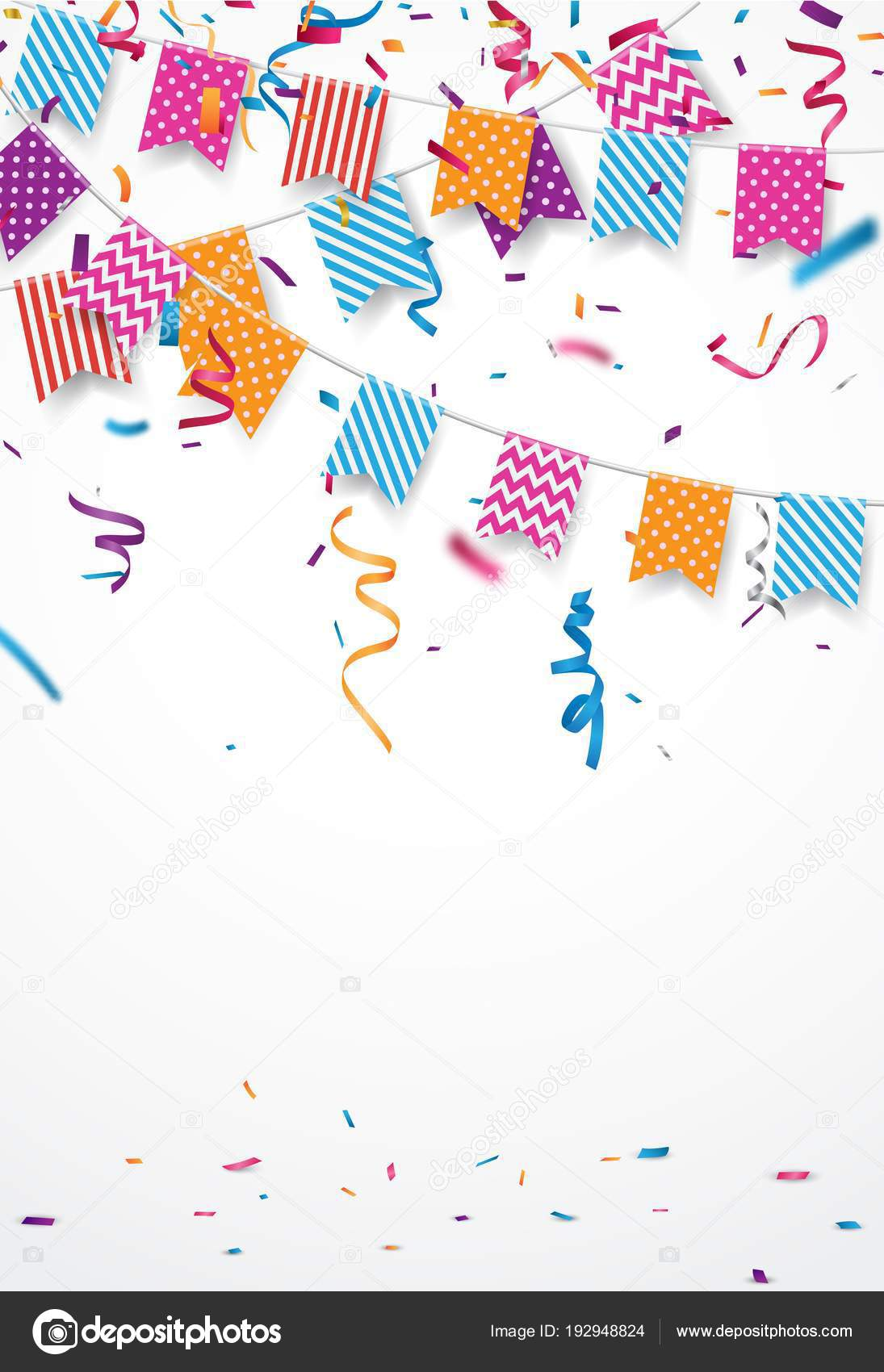 Colorful vector illustration of Birthday card background. Border of  colorful flags and confetti on white background with copy space 8