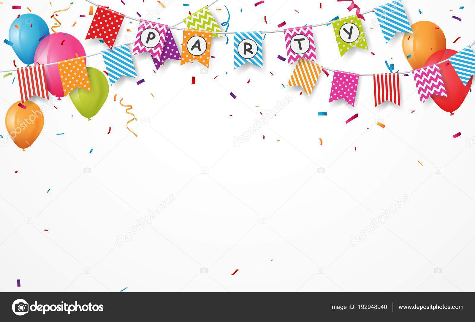 Colorful vector illustration of Birthday card background. Border made of  colorful flags, balloons and confetti on white background 8