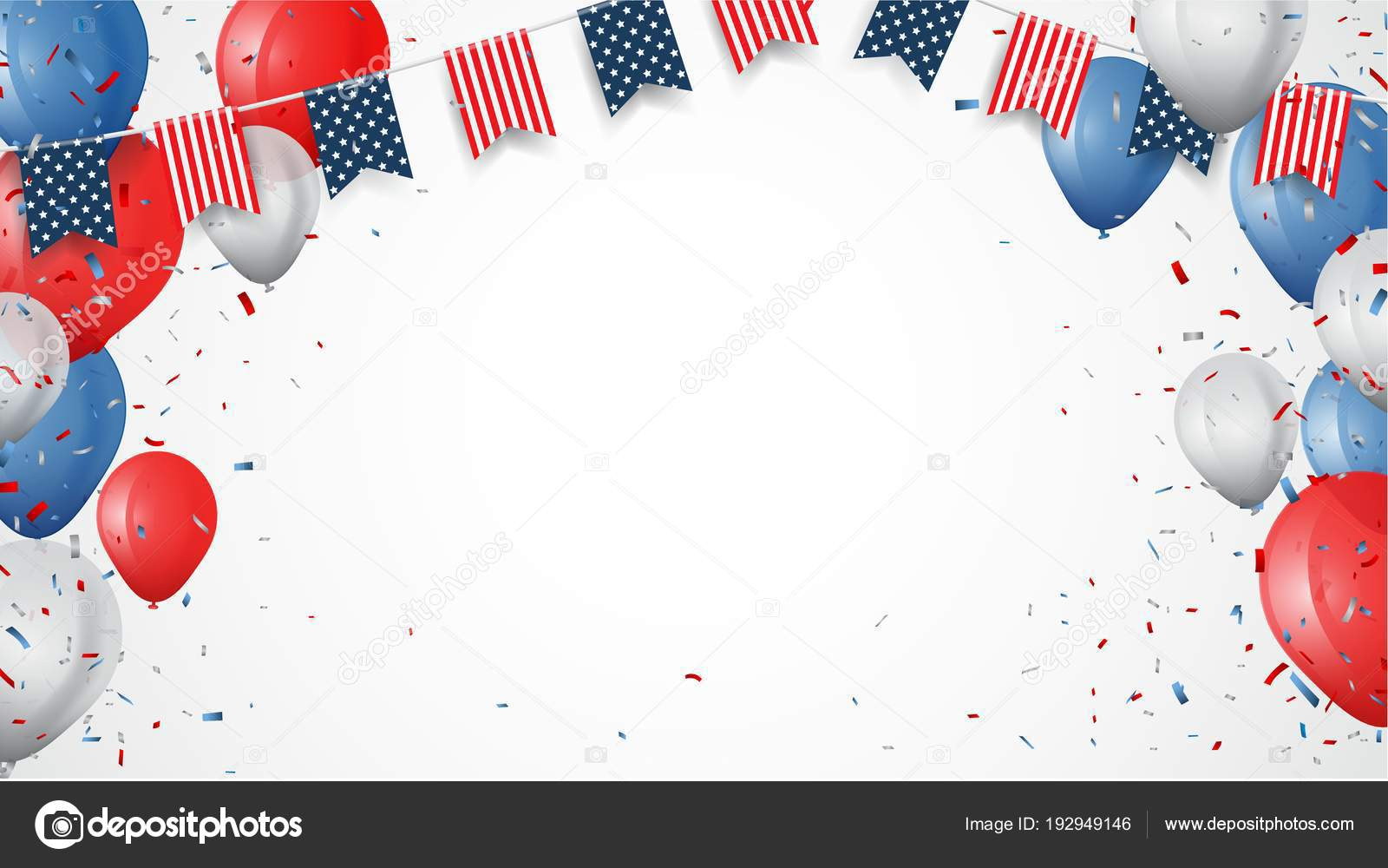 vector template frags ribbons balloons fourth july independence day