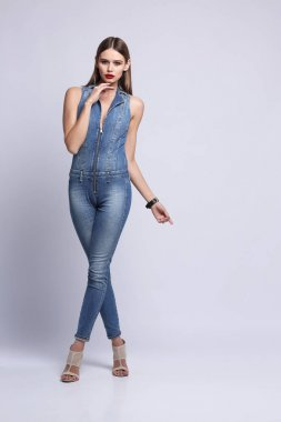 beautiful woman in overall