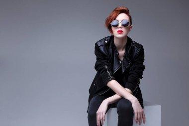 Redhead fashion model