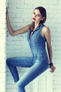fashion woman in overall