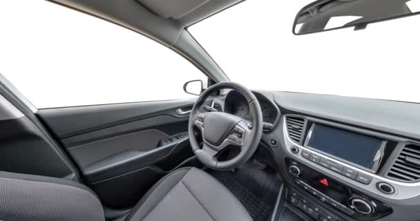 panorama in interior leather salon of prestige modern car. steering wheel, shift lever and dashboard isolated on white background