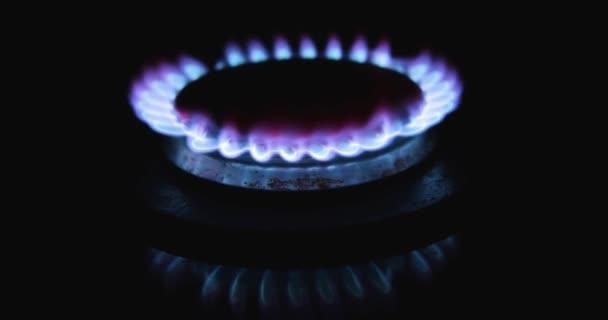 Blaue Flamme eines Gasherdes auf schwarzem Hintergrund. Küchenherd eingeschaltet. Erdgas-Entzündung