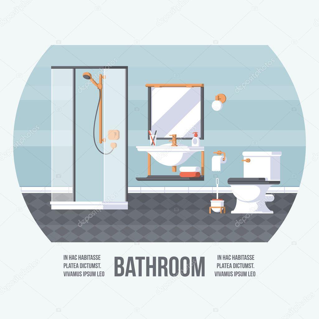 Cubierta de cuarto de baño con ducha, lavabo e inodoro. Estilo Retro ...