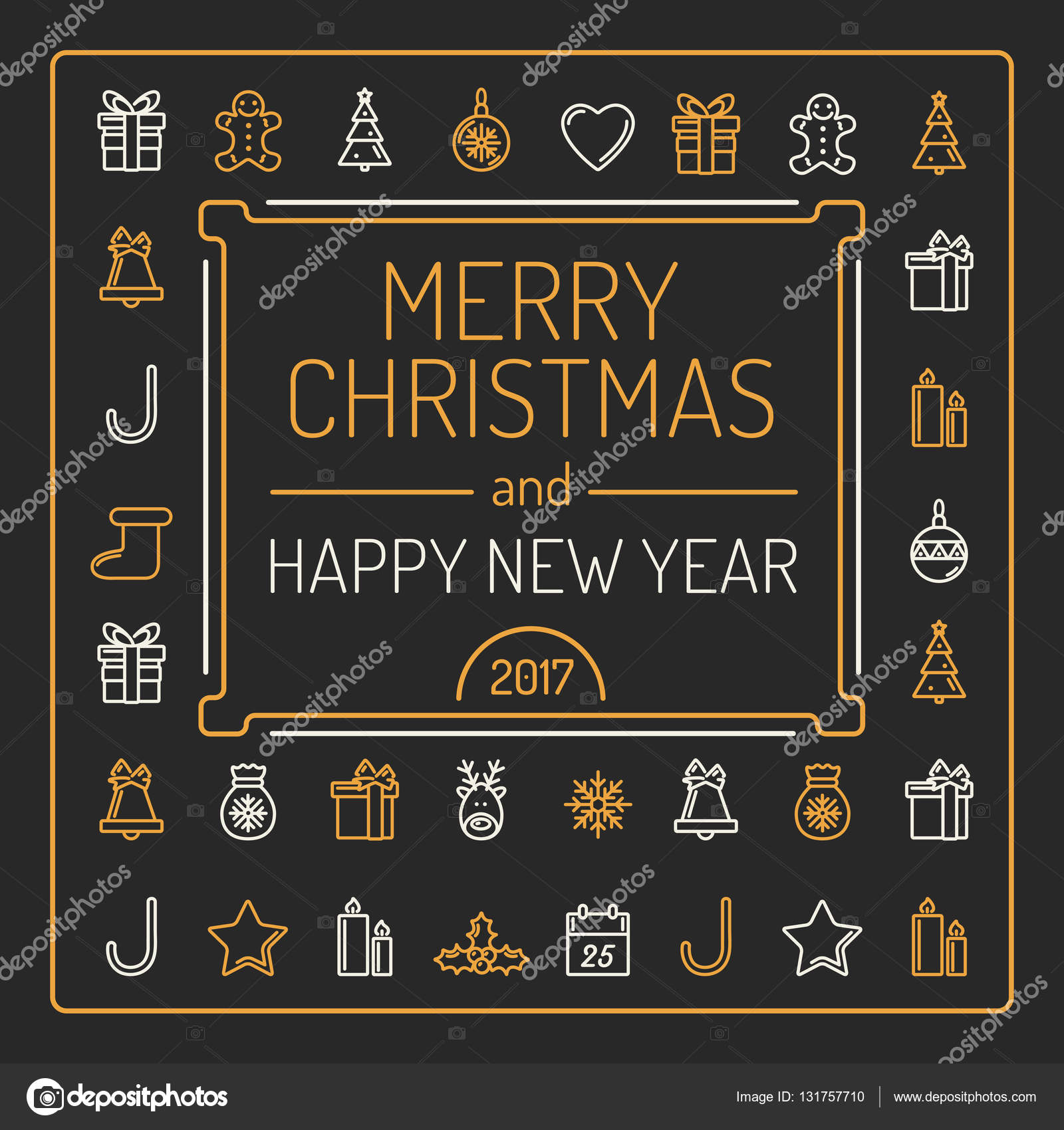 merry christmas and happy new year card golden and silver colour outlines on black background luxury trendy line design vector illustration
