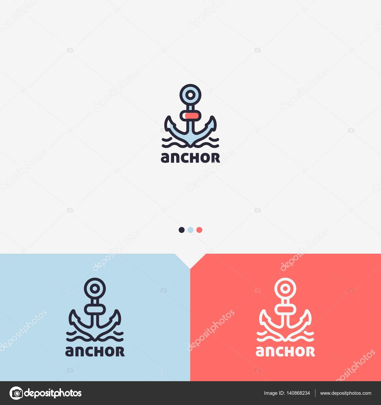 Anker-Logo-Design-Vorlage. Einfache und saubere Umriss-Stil. Farbe ...