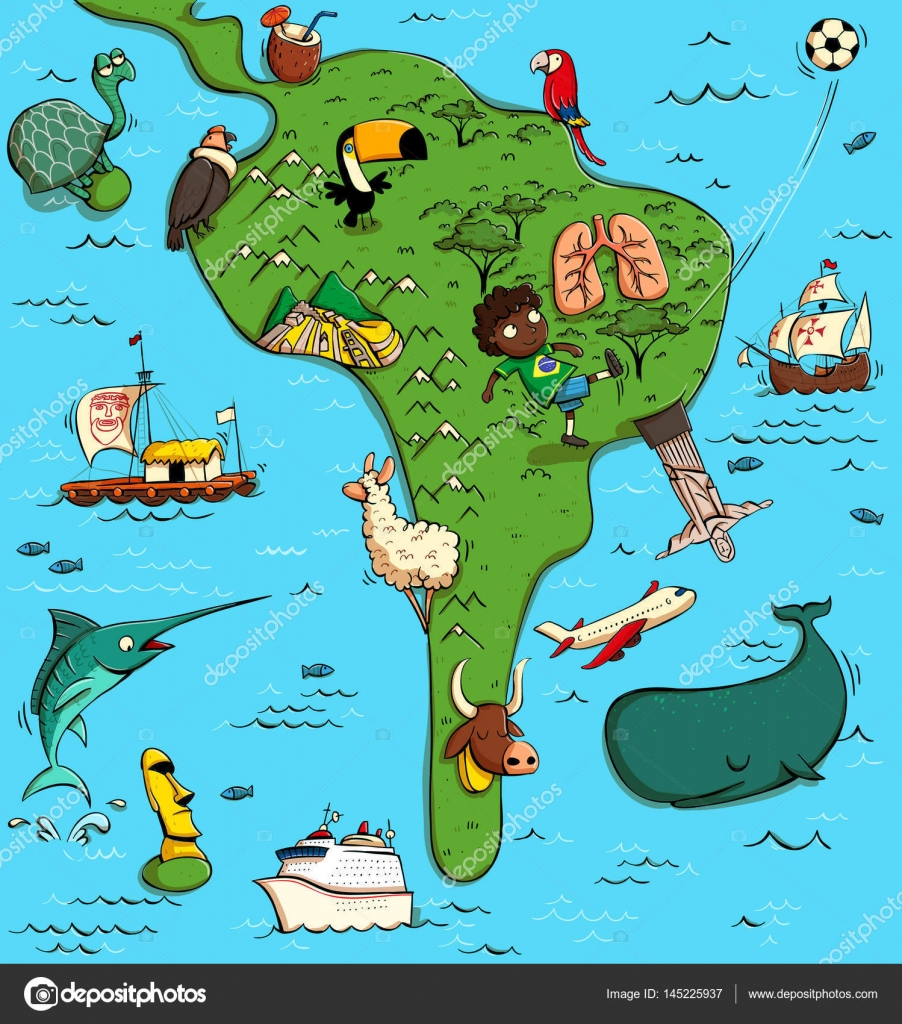 illustrated map of south america u2014 stock vector vook 145225937
