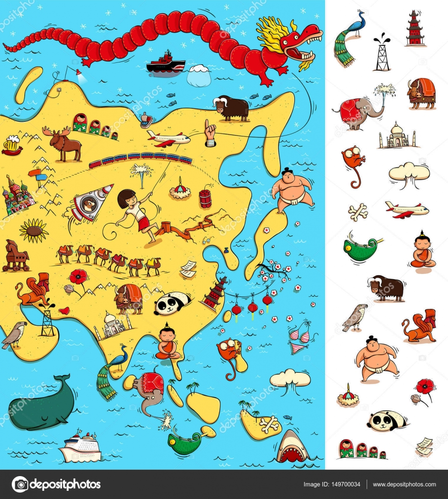 Big Map Of Asia.Map Of Asia Big Visual Game Locate Isolated Items On A Map