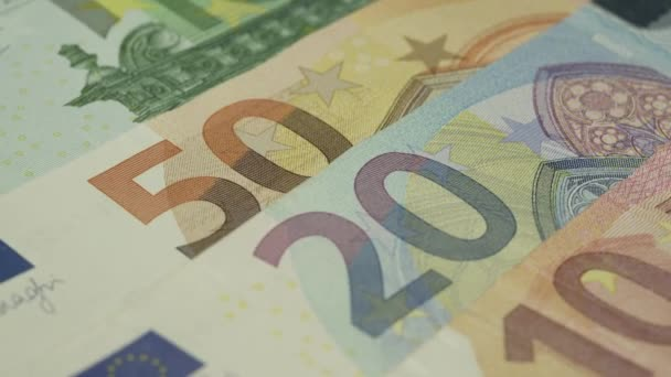 different face value on euro banknotes with numbers rotate