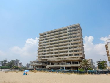 FAMAGUSTA, CYPRUS, June, 2019:Ruins of hotels at Varosia district of Famagusta, Cyprus