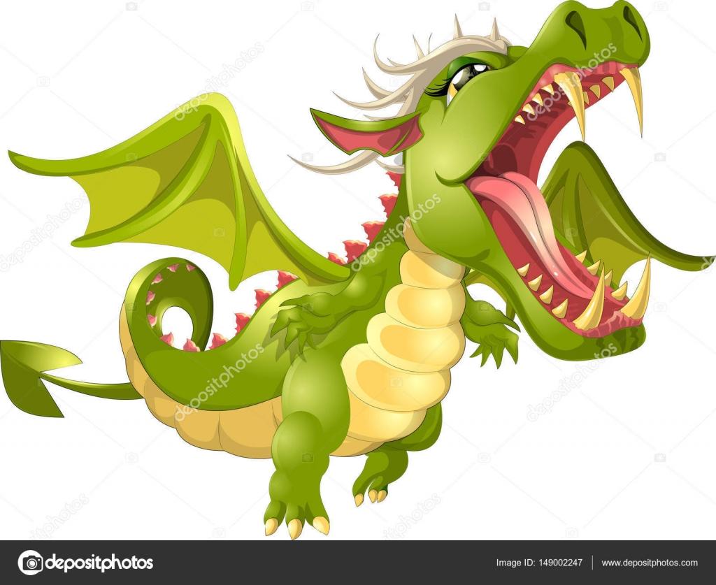 Cartone animato drago arrabbiato — vettoriali stock