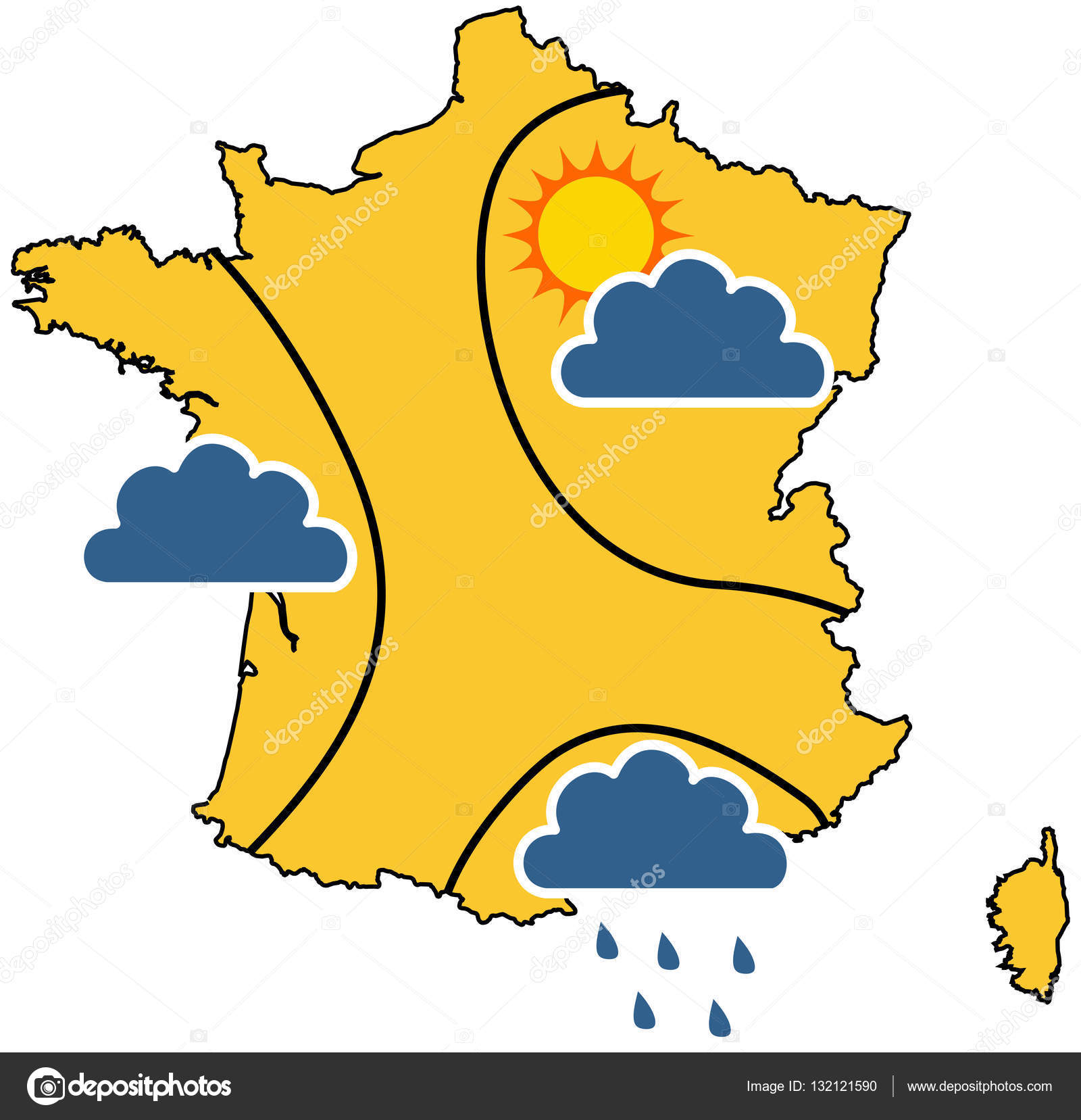 Map Of France Weather.Weather Map In France Stock Vector C Hurgem 132121590