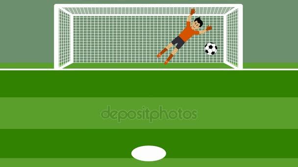 Schuss von mehreren Elfmeterschießen mit Torwart im Fußball