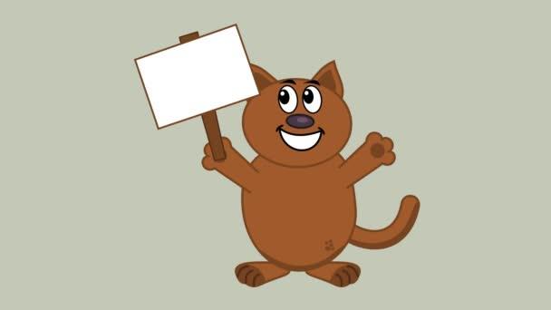 Lächelnde Katze mit einem Poster - Animation