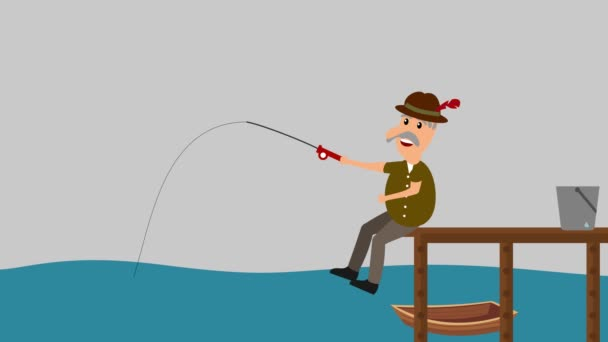 a man fishing a home - animation