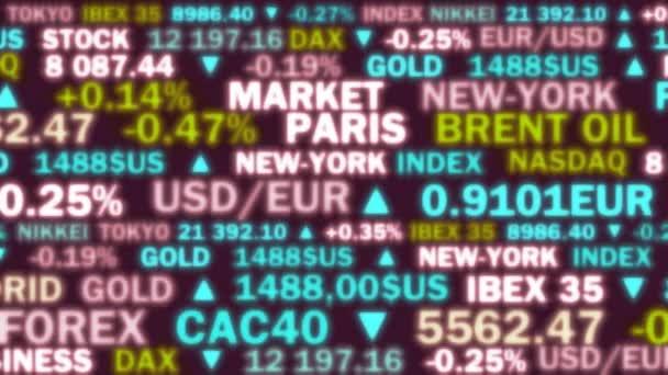 index akciového trhu a reálné sazby s jasnými barvami a světly - animace