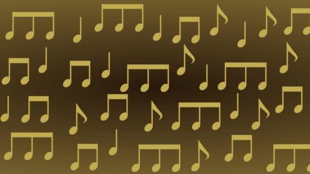 örömteli arany és zenei hangok remegő ritmusban arany háttér - animáció