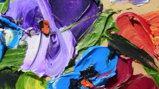 Festés olajfestékekkel tréning. egy gyönyörű virágfestmény.