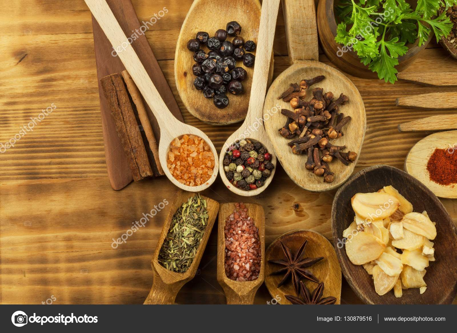 Kitchen Table With Food Various Kinds Of Spices On The Kitchen Tableseasoning Food