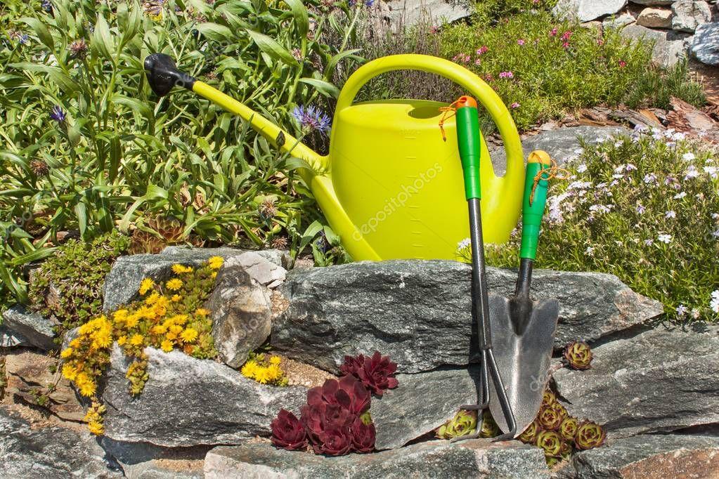 Plastic garden watering can on a blooming rockery. Gardening tools. Ornamental garden.