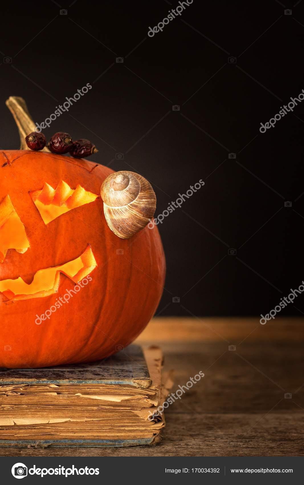 Pompoen En Halloween.Halloween Pompoen En Een Boek Van Spreuken Gesneden Pompoen