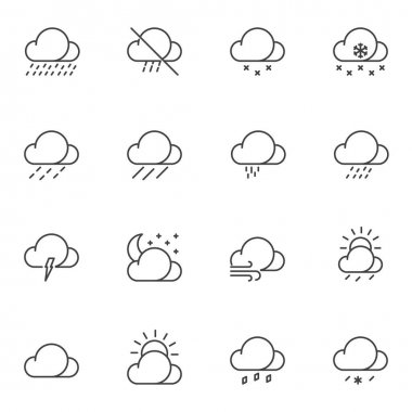 Weather clouds line icons set. linear style symbols collection, outline signs pack. vector graphics. Set includes icons as cloudy weather, rain, shower, wind, thunderstorm, snow, night moon, sunny day icon