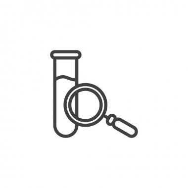 Test tube and magnifying glass line icon. linear style sign for mobile concept and web design. Chemical analysis glassware outline vector icon. Symbol, logo illustration. Vector graphics