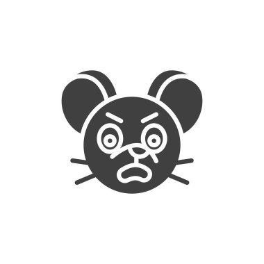 Annoyed rat emoticon vector icon. filled flat sign for mobile concept and web design. Angry mouse face emoji glyph icon. Chinese 2020 year of the rat symbol, logo illustration. Vector graphics