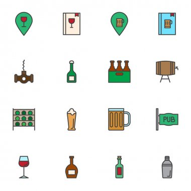 Pub drinks filled outline icons set, line vector symbol collection, linear colorful pictogram pack. Signs, logo illustration, Set includes icons as beverages menu, pint beer, wine, alcoholic, jin, ale icon