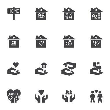 Family house vector icons set, modern solid symbol collection, filled style pictogram pack. Signs, logo illustration. Set includes icons as home, love family heart, newlyweds, real estate, valentine icon