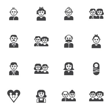 Family members vector icons set, modern solid symbol collection, filled style pictogram pack. Signs, logo illustration. Set includes icons as parents, dad mom baby son, daughter, grandmother grandpa icon