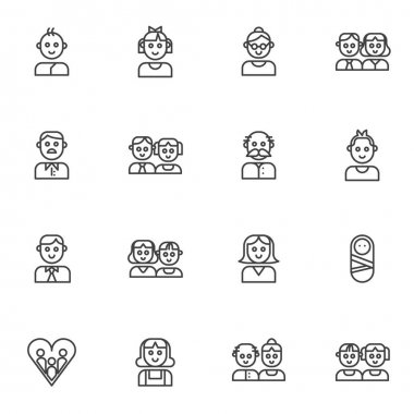 Family members line icons set. linear style symbols collection, outline signs pack. vector graphics. Set includes icons as parents, dad mom baby son, daughter, grandmother and grandpa together, girl icon