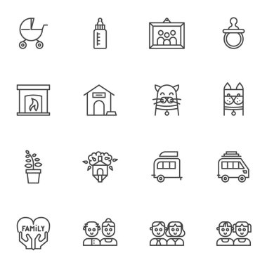 Happy family line icons set. linear style symbols collection, outline signs pack. vector graphics. Set includes icons as two children, dad and mom, dog cat pets, family portrait, baby pram, fireplace icon